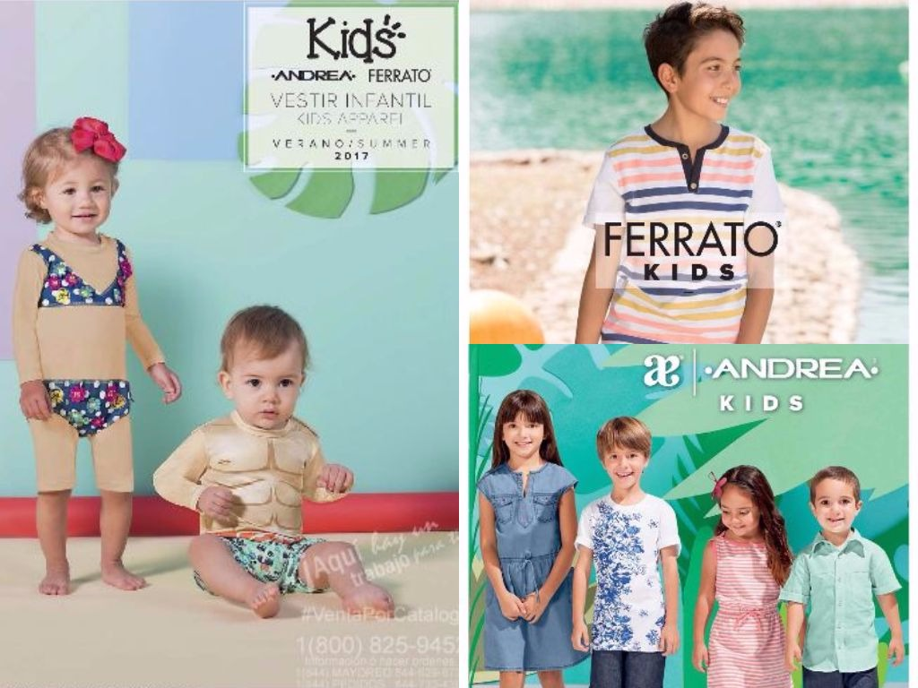 Novedades del Catálogo Vestir Infantil Verano 2017 Andrea, Ferrato USA